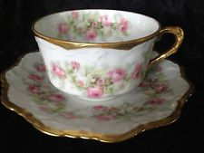 VINTAGE LIMOGES FRANCE CORONET TEA CUP AND SAUCER PINK & WHITE CABBAGE ROSE