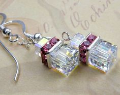 Clear Crystal Earrings, Pink Rhinestone, Sterling Silver, Handmade Jewelry, Spring Fashion, Valentine