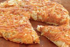 """Batata Rosti Gostosa, saborosa e crocante, a Batata Rosti ou Batata Suíça é um tradicional prato da região do Cantão de Berna, parte """"alemã"""" da Suíça. A pa"""