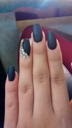 Black coffin matte nails with rhinestones