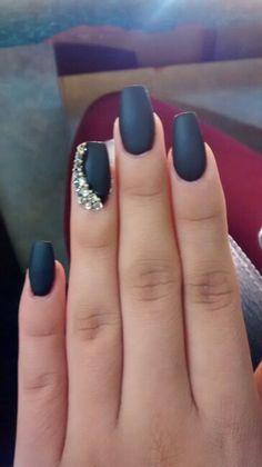 Black coffin matte nails with rhinestones
