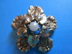 Floral Gold-Toned Pin with Pearl in the by Catnesscuriosities