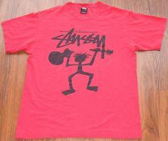 Vtg Stussy Stickman BROKEN Guitar RED Shirt '90s SKATING STREET Hip Hop Size MED