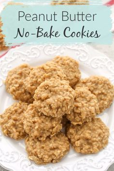 Did you eat no-bake cookies growing up? These Peanut Butter No-Bake Cookies are . - Did you eat no-bake cookies growing up? These Peanut Butter No-Bake Cookies are just a little diffe - Chocolate Chip Shortbread Cookies, Toffee Cookies, Yummy Cookies, Peanutbutter No Bake Cookies, Homemade Cookies, Easy No Bake Cookies, No Back Cookies, Peanut Cookies, Oatmeal Cookies
