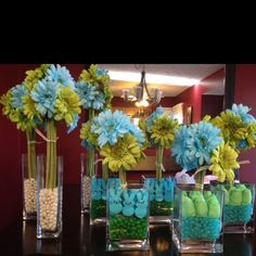 Its a boy- baby sprinkle centerpieces! We could use yellow, white and grey to go with colors of Elliott's nursery. Sprinkle Shower, Baby Sprinkle, Second Baby Showers, Small Baby, Reveal Parties, Baby Bumps, Boy Shower, Craft Gifts, Party Planning