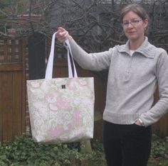 Beach Bag large tote in mint green pink by OliveStreetStudio,