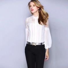 Cute White Lace Silk Women Shirt! Love it!
