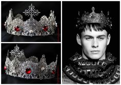 Dolce Male Crown Runway Silver Male Crown by Elviejewelrydreams Gothic Crown, Male Crown, Medieval Princess, Jewelry King, Medieval Wedding, Diamond Tiara, Renaissance, Kings Crown, Circlet