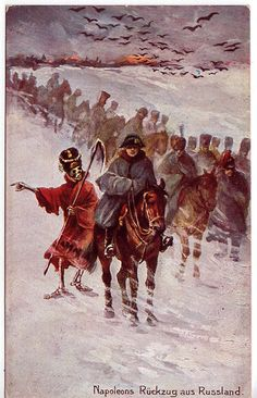 Napoleon's retreat from Russia 1812 - postcard