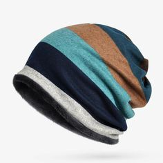 8ecfc5f5feb  AETRENDS  Hot Sale Double Layers Cotton Striped Hip Hop Skullies Winter  Warm Hats Scarves Beanies Headgear Z-5004