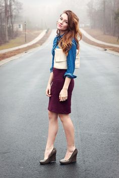 Love the plum pencil skirt! Extra cute with denim shirt + oversize beige clutch