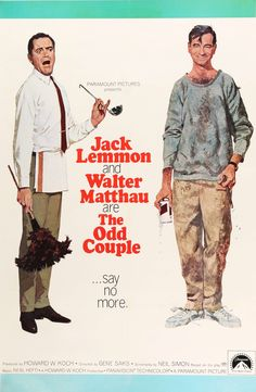 "Film: The Odd Couple (1968) Year poster printed: 1968 Country: USA Size: 27"" x 41"" Artist: Robert McGinnis This is an original, linen-backed one-sheet movie poster from 1968 for The Odd Couple starrin"