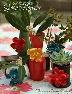 Anthropologie inspired plastic spoon flowers.