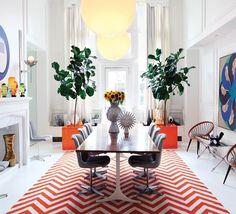 gorgeous chevron and indoor foliage