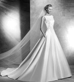 Satin prinsessa Djupt V-V-back 2016 brudklänning broderi på spets
