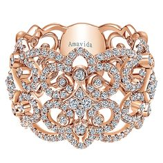 18k Pink Gold Allure Style  Wide Band Ladies' Ring With  Diamond