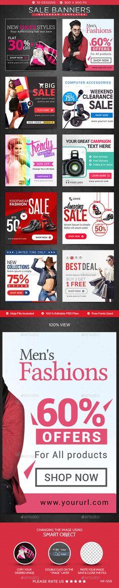 Sales Instagram Banners - 10 Templates #design Download: http://graphicriver.net/item/sales-instagram-banners-10-templates/12411343?ref=ksioks