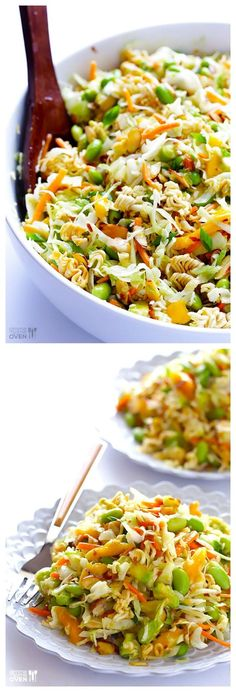 Crunchy Asian Ramen Noodle Salad -- ready to go in 10 min, and modernized with fresher ingredients! gimmesomeoven.com #salad #vegetarian