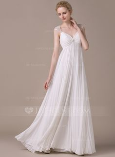 A-Line/Princess Sweetheart Floor-Length Pleated Zipper Up Cap Straps Sleeveless Beach Hall General Plus No Spring Summer Fall Ivory Chiffon Wedding Dress