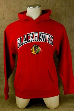 Youth Chicago Blackhawks Hockey NHL Red Hoodie Hooded Sweatshirt Red Embroidered