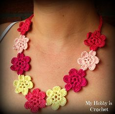Crochet flower necklace - just make without joining for a flower
