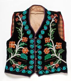 Vest, with Fiddlehead Fern bead design, fashioned from an Ojibwe apron (Late 1800's, early 1900's). Wisconsin Historical Society.