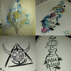 Harry potter tattoo flash #harrypotter #hptattoo #harrypottertattoo #snitch #potions #hogwarts #deathlyhallows #snape #goldensnitch #pottertattoo #harrypotterfan #hpfan #thecolourofmagictattoo
