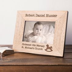Engraved Wooden Picture Frame - Christening Day | GettingPersonal.co.uk