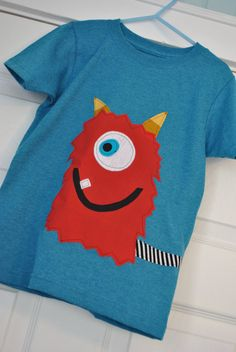 Big Red Monster Shirt by AnotherPairofShoes on Etsy, $17.50