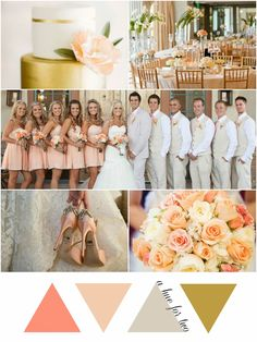Girly Peach, Ivory and Gold Wedding Colour Scheme | A Hue For Two