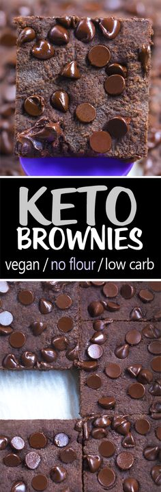 (These fell apart)Keto Brownies - low carb, flourless, vegan, sugar free, gluten free Vegan Keto Recipes, Vegan Sweets, Healthy Sweets, Healthy Dessert Recipes, Keto Snacks, Vegan Desserts, Healthy Baking, Low Carb Recipes, Clean Recipes