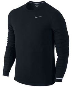 Buy Nike Dri-FIT Contour Long Sleeve Running Top, Black from our Men's Running Wear range at John Lewis & Partners. Running Wear, Running Shirts, Nike Running, Long Sleeve Running Shirt, Long Sleeve Shirts, Mens Activewear, Knit Shirt, Nike Dri Fit, Mens Tops
