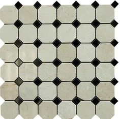 Octagon+Crema+Marfil+Polished+Marble+with+Black+Dot+Mosaic+Tile+-+Crema+Marfil+Marble+Octagon+Pattern+Polished+with+Black+Dot+Mosaic+Tile+is+a+great+way+to+enhance+your+decor.+This+Polished+Mosaic+Tile+is+constructed+from+durable,+impervious,+Marblematerial,+comes+in+a+smooth,+high-sheen+finish+and+is+suitable+for+installation+as+bathroom+backsplash,+kitchen+backsplash+in+commercial+and+residential+spaces.+This+beautiful+Marbletile+features+a+random+variation+in+tone+to+help+add+styl