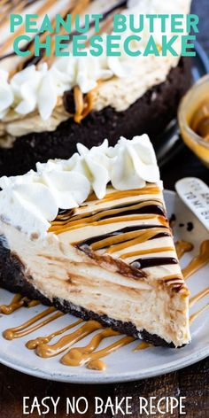 This EASY No Bake Peanut Butter Cheesecake is full of peanut butter flavor with . - This EASY No Bake Peanut Butter Cheesecake is full of peanut butter flavor with … - Chocolate Cheesecake Recipes, Easy Cheesecake Recipes, Easy Baking Recipes, Dessert Recipes, Cool Recipes, Cheesecake Deserts, Best No Bake Cheesecake, Cheesecake Cookies, Keto Cheesecake