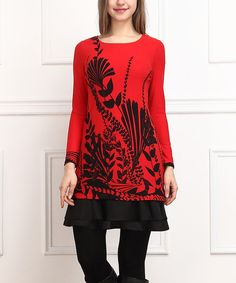 Look at this Red & Black Floral Ruffle Hem Tunic on #zulily today!