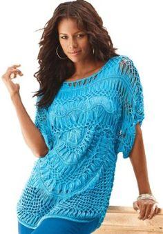 Roamans Plus Size The Crochet Openwork Sweater (Ocean,3X) Roamans. $37.49