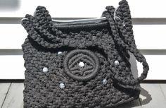 Black Macrame Purse Hippie Handbag Beaded by PrimaDonnaBoutique, $35.00