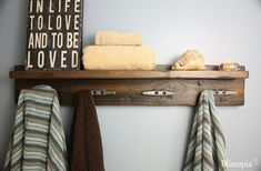 Rustic Bath Shelf With Boat Cleat Towel Hooks by Blissopia on Etsy, $135.00