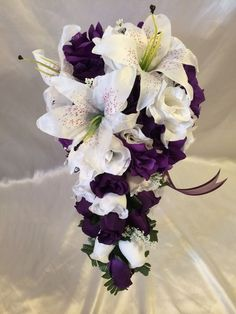 Purple Wedding Bridal Bouquet Silk Wedding Flower Package 4 Bridesmaids  #BridalSilkFlowers #Wedding