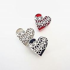 Landi Kuhn - Functional Art & Design Plywood with laser cut detail heart brooches Each Heart is x Sold as a set of 3 brooches - navy, beige & red Jewelry Making, Brooch, Heart, How To Make, Crafts, Accessories, Jewellery, Store, Dress