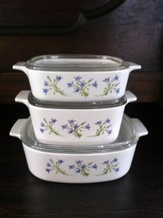 Set Of 3 Corning Ware Casseroles 2 Quart 1.5 Quart 1 Quart Blue Dusk Pattern by Dutchiez on Etsy https://www.etsy.com/listing/218814301/set-of-3-corning-ware-casseroles-2-quart