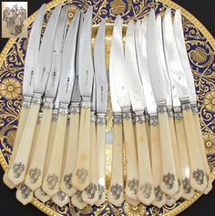 """Like th shape of this blade...  RARE 24pc Antique French 8"""" Knife Set, Armorial Carved Handles & Silver: Cardeilhac silversmith marks, 12/12 set"""