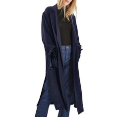 Women's Topshop Velvet Pocket Duster Coat ($80) ❤ liked on Polyvore featuring outerwear, coats, navy blue, navy duster coat, topshop coats, blue duster coat, pocket coat and blue velvet coat