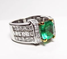 Estate 7.56 cts Extra Fine Natural Colombian Emerald & Diamond Ring 18K
