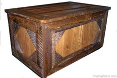 Custom made chest / trunk. Crafted from year antique old barn wood. This chest has light colored new oak centers. This wood is from an actual barn we too…