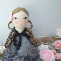 Fabric Doll cloth doll in a grey sequin by #CherryGardenDolls #doll #clothdoll #handmade #ragdoll #gift #artdoll #humanface