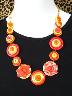 BUTTON JEWELRY button necklace shade of redorangeyellow by pupinka, $38.00 love it! must try! #ecrafty