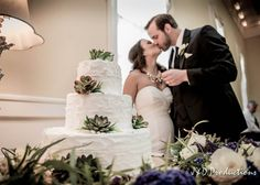 Succulents on wedding cakes are becoming more and more popular. They are a cute touch to any wedding cake and lend themselves to a woodsy, romantic feel. From Lerin and Karl's Reception at the Ashton Villa in Galveston, TX. #cuteweddingideas #cuteweddingcakes #succulents #modernrusticwedding #weddingphotography #texasweddingphotographers #galvestonweddings