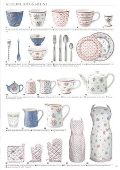 GreenGate Autumn/winter catalogue 2019—Side 32 Shabby Vintage, Shabby Chic, Rainbow Kitchen, Fall Winter, Autumn, Pencil Illustration, Teapots, Colored Pencils, Cups