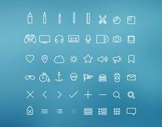 Обалденные PSD иконки с тонкими линиями